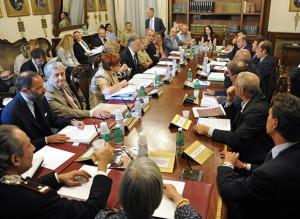 Il tavolo con il  Ministro e le delegazioni sindacali