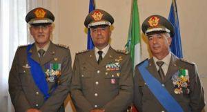 I generali Borrini (SCapo di SME) Bernardini (Cte del FOT)  e Stano (Cte del COFODIN Di padova)