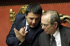 Il Presidente Renzi e il Ministro Padoan in Parlamento