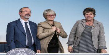 I segr. Gen. di CGIL, CISL e UIL contenti e felici dopo l'accordo con il Governo
