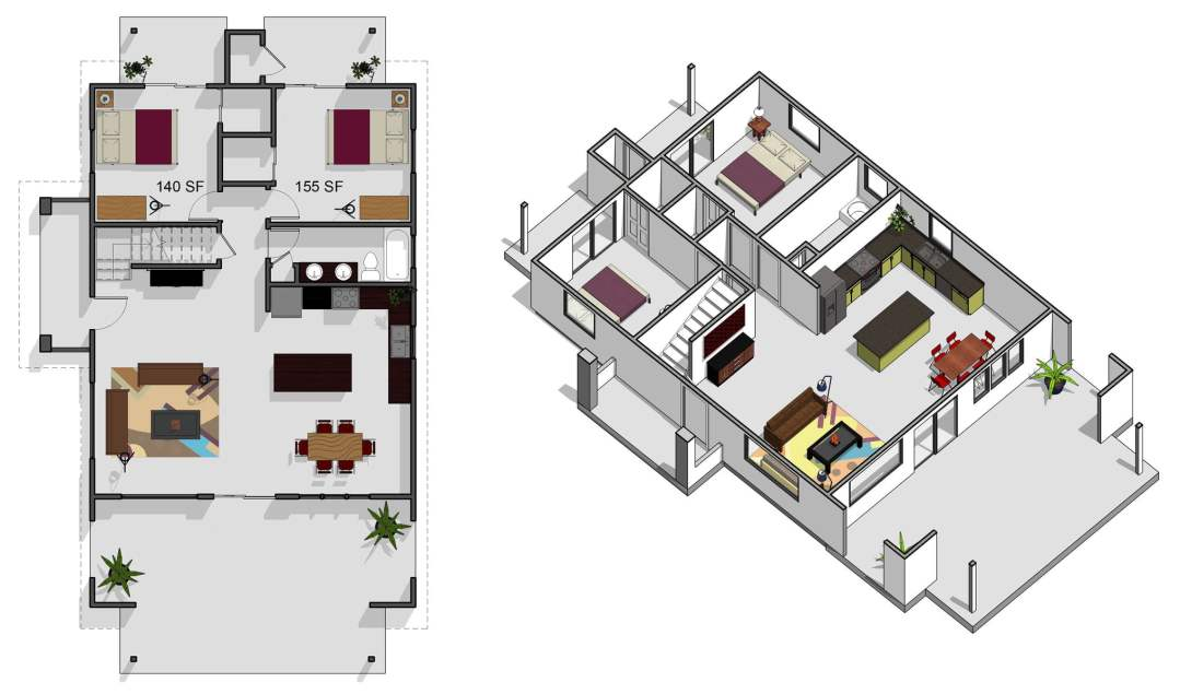 6 bedroom, 3 bathroom, first floor