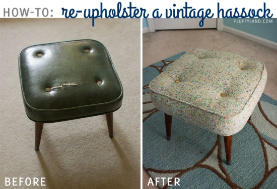 how to reupholster a vintage hassock