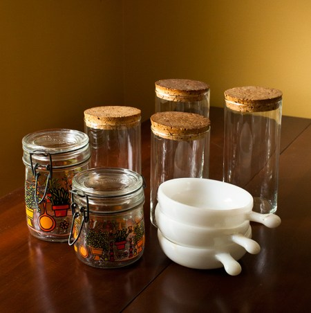 rummage sale - glass canisters