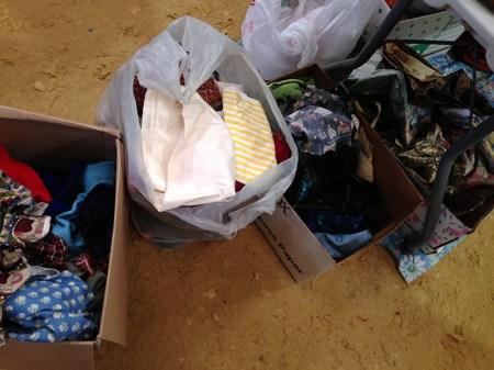 rummage sale in the horse barn - my scrap fabrics