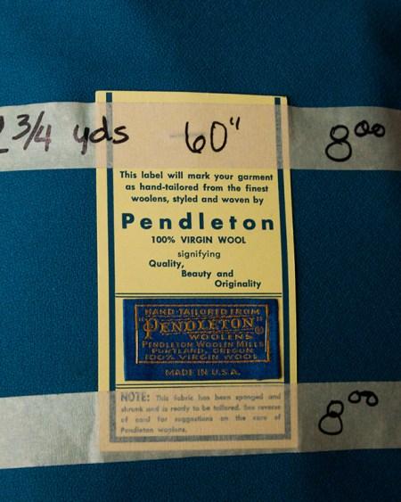 rummage sale - turquoise pendleton wool label detail