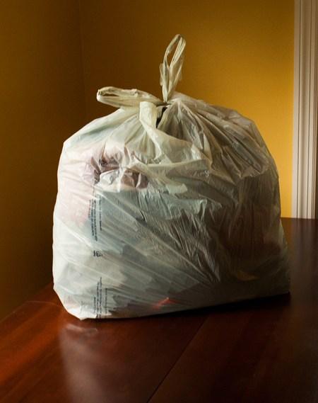 rummage sale scrap fabric bag