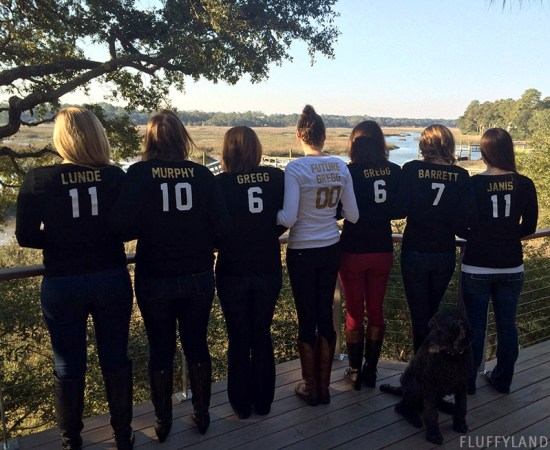 bridesmaid t-shirts - iron-on jersey numbers