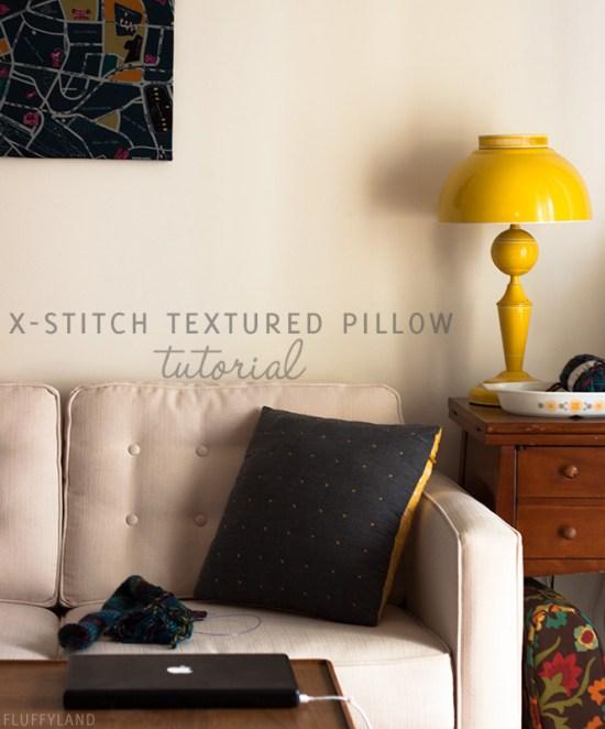 x-stitch textured pillow tutorial