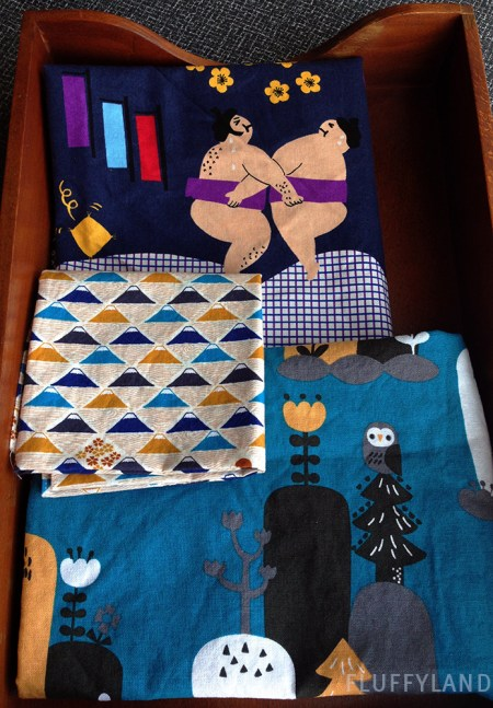 sumo wrestlers and mount fuji - fabric from japan