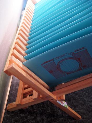 dish rack turned into gocco print drying rack