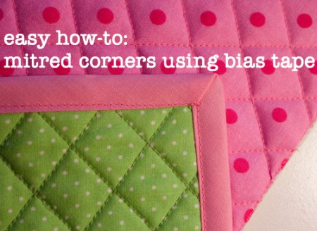 easy how-to: mitred corners using bias tape (a tutorial)