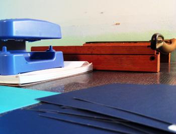 my creative space: print gocco, paper, paper cutter