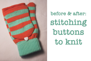 stitching buttons to knit tutorial