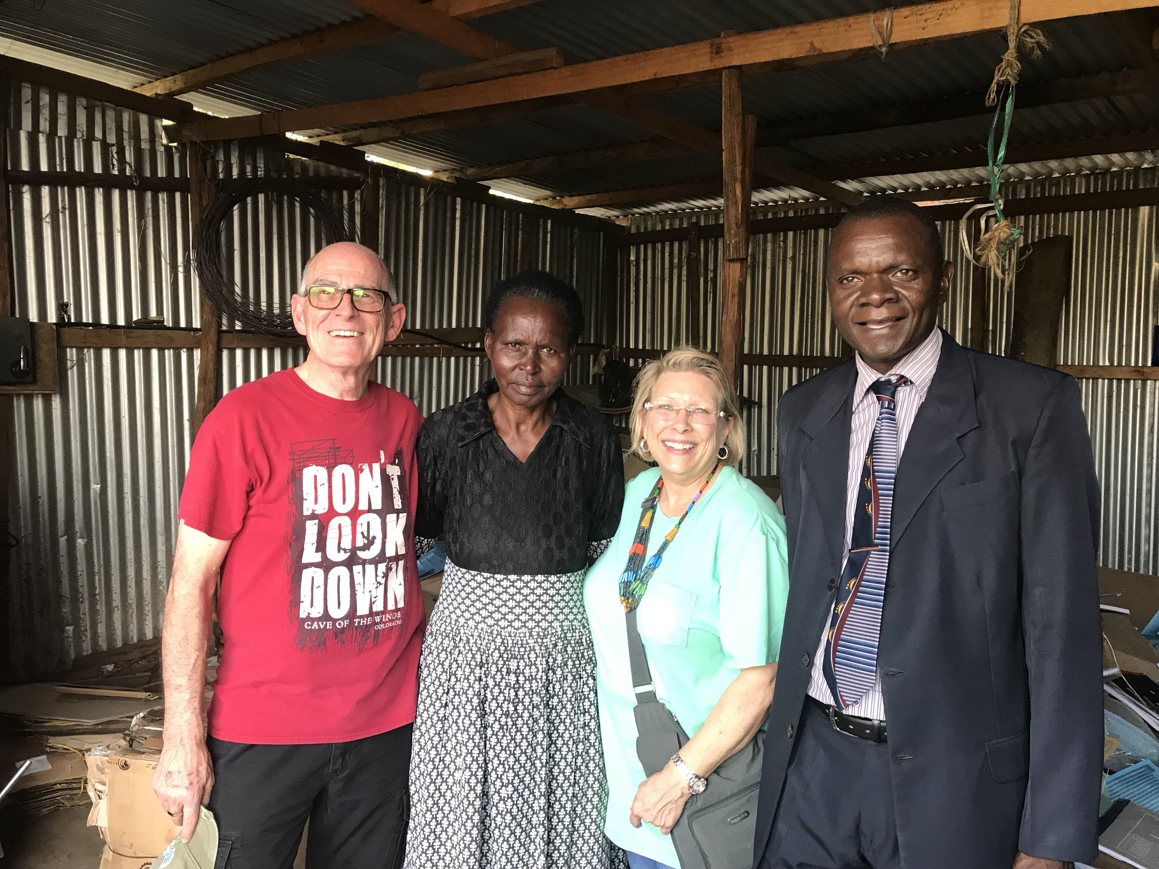 L to R: John Rushing, Dorcas, Mandy Swilley, Pastor Samson Otieno
