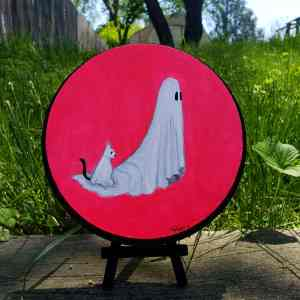 ghost ghost cat wood round