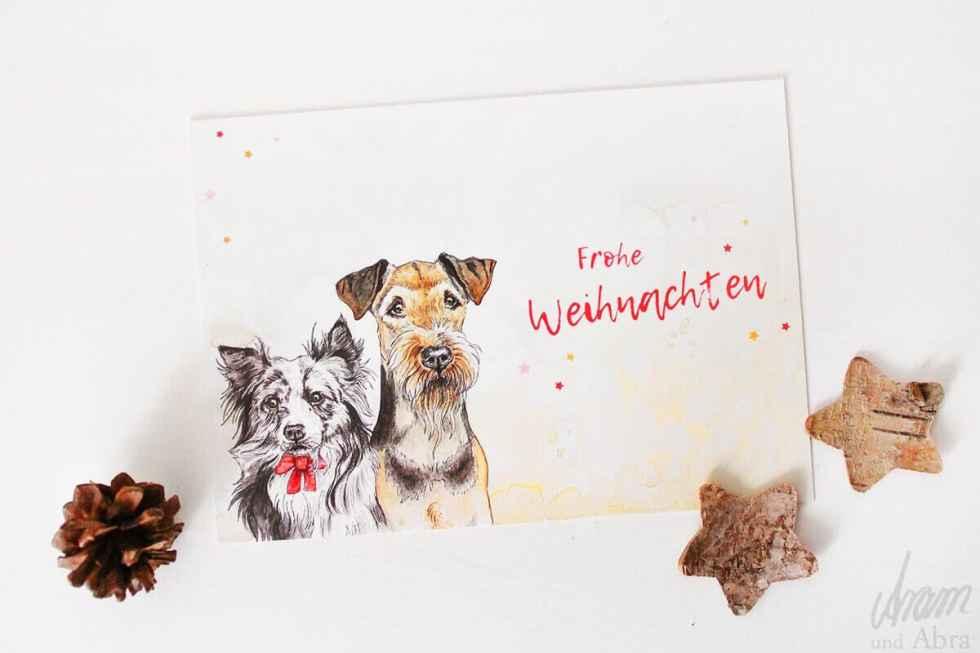 Hunde-Postkarte-Frohe-Weihnachten-Weihnachtskarte-Aquarell-Airedale-und-Australian-Shepherd-Aram-und-Abra-bei-Hundesport-Nubi-2