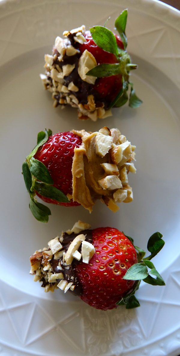 Valentine's Day Healthy Delight ~ Strawberries Dipped in Peanut Butter, Chocolate and Nuts