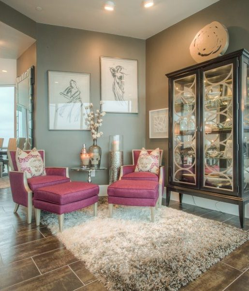 Contemporary Decor  Provides Sumptuous Living & Dining Rooms