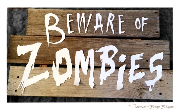 Beware of Zombies Silhouette letters