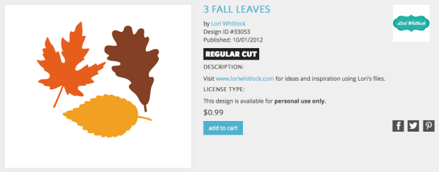 Silhouette Design Store Lori Whitlock 3 Leaves Design