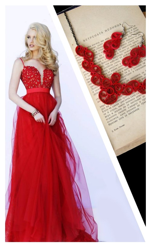 Red Paper Quilled Jewelry and Dress Paper Craft for Formal Occasions