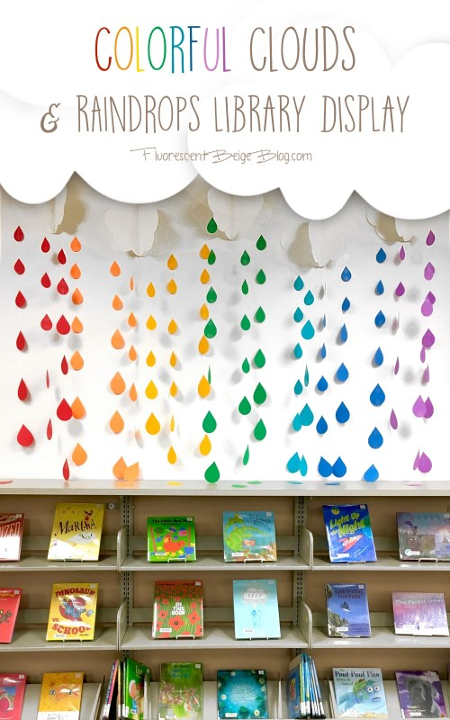 Colorful Clouds & Raindrops Library Display