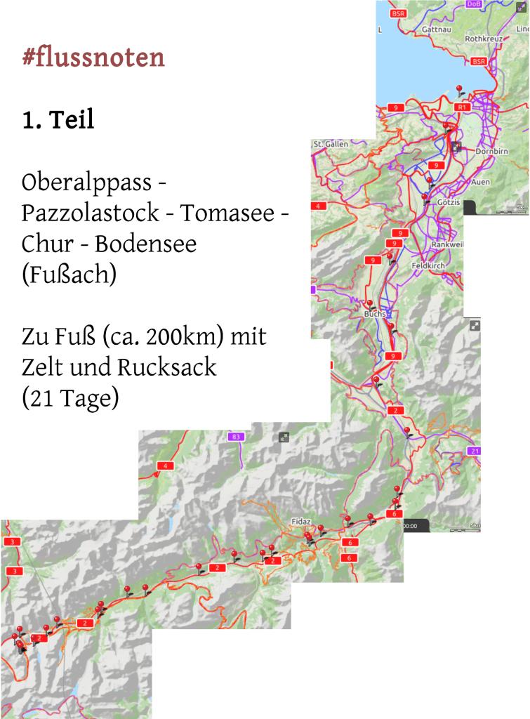 Karte mit der vollständigen, mit Nadeln markierten Strecke