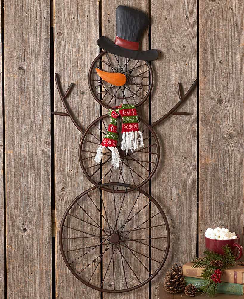 country Christmas decor-  Hanging Bicycle Wheel Snowman