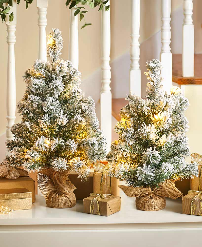 Lighted Snowy Tabletop Holiday Trees