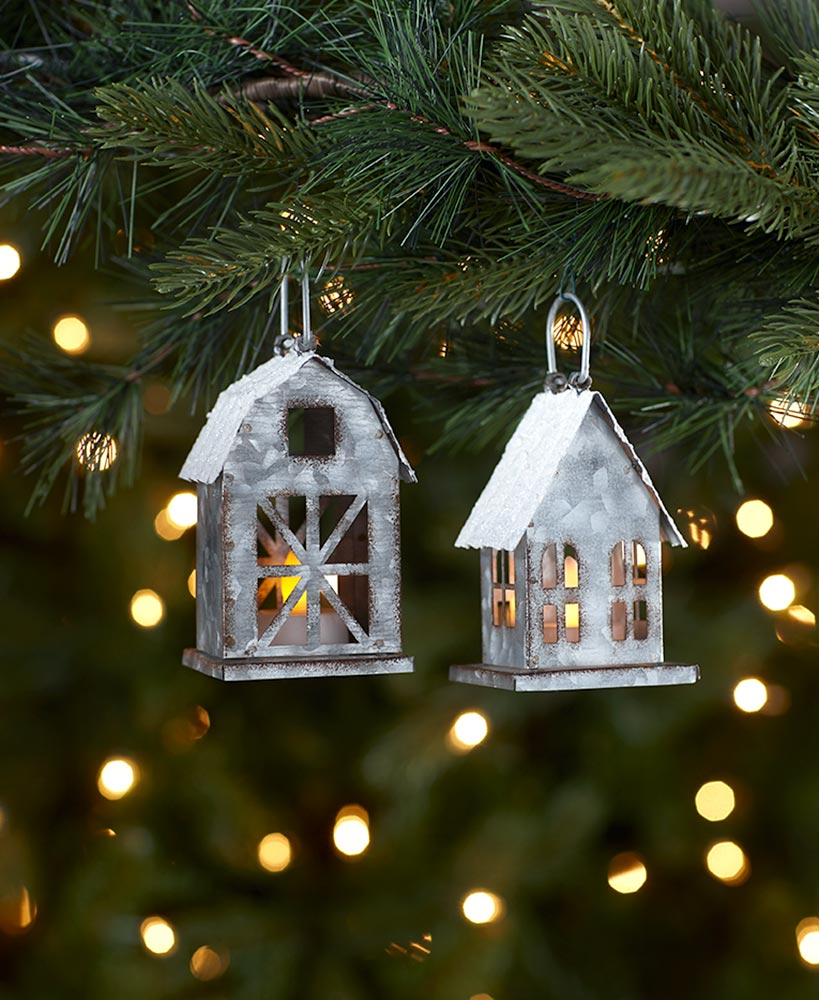 Sets of 2 LED Galvanized House Ornaments