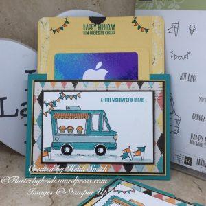 Sunday Scoring Landscape double slider gift card holder by Heidi Smith Flutterbyheidi Stampin Up uk demonstrator