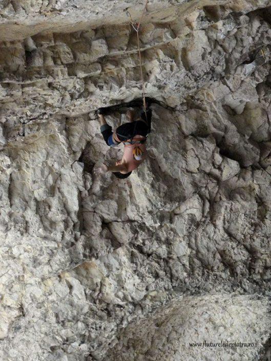 climbing in Hungarian Cave, Romania