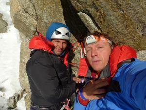 echipa de alpinisti romani pe Petit Dru, Daniel Burcica si Mihai Sima
