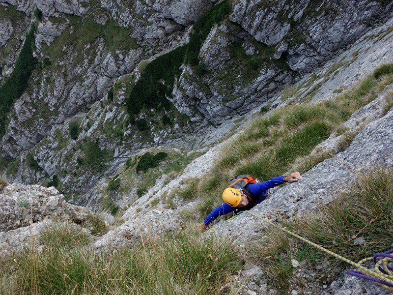 alpinism traseul poseidon, muntii bucegi, costila, muntii carpati