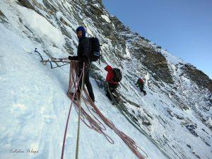 Mihnea Rădulescu pe fața nordică Matterhorn. Sursă: Cătălin Pobega