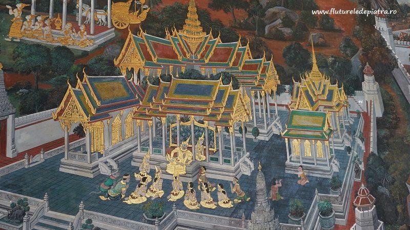 fragment din pictura delicată a poveștii lui hanuman, Palatul Imperial Bangkok