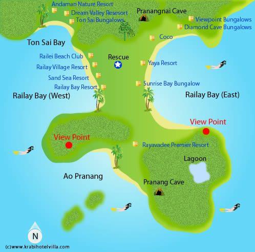 harta plaja railey si tonsai, thailanda