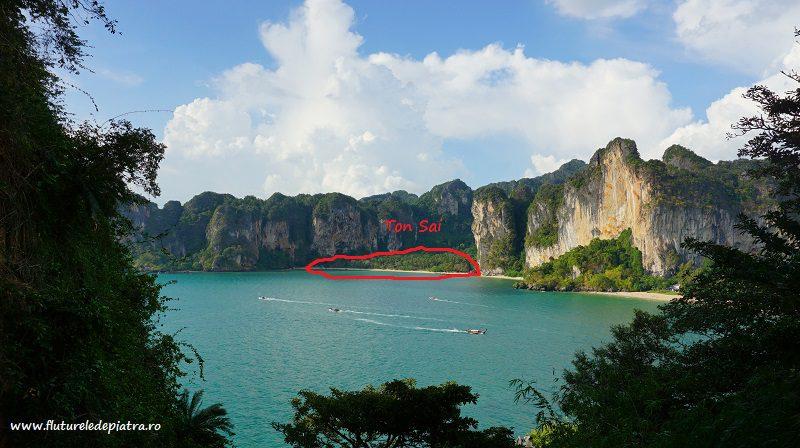 plaja TonSai și trecerea la dreapta spre Railey, Thailanda