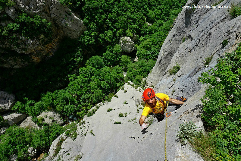 perfect slab climbing in Debeli Kuk, Senza Pieta route, Paklenica, multipitch