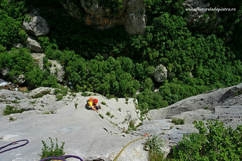 perfect slab climbing in Debeli Kuk, Senza Pieta route, Paklenica