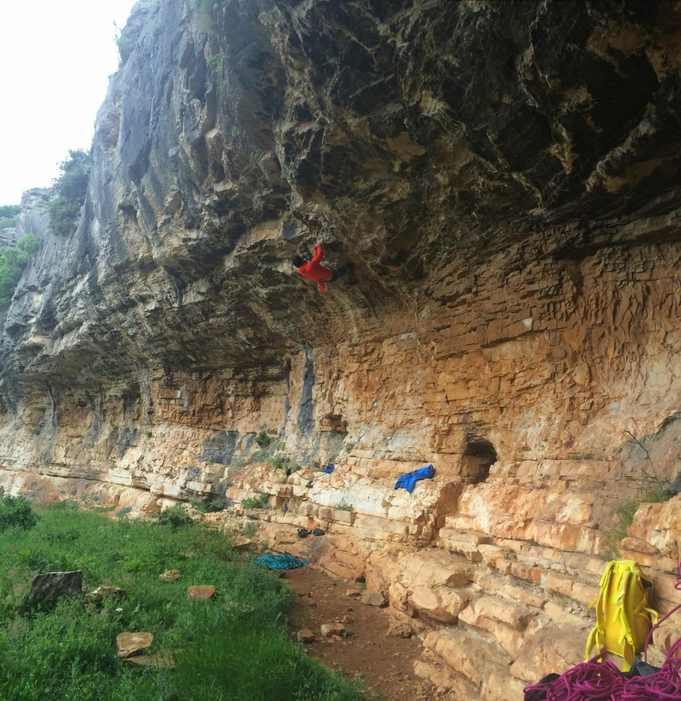 sport climbing on a rainy day in Croatia, Paklenica, karin crag