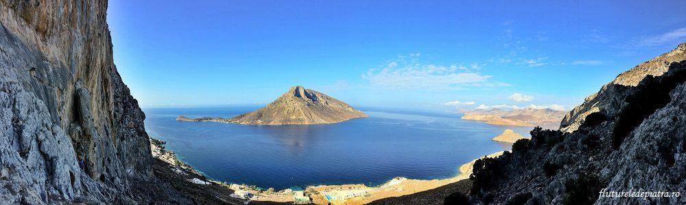 silueta Telendos, vecina insulei Kalymnos, Grecia, vacanta escalada
