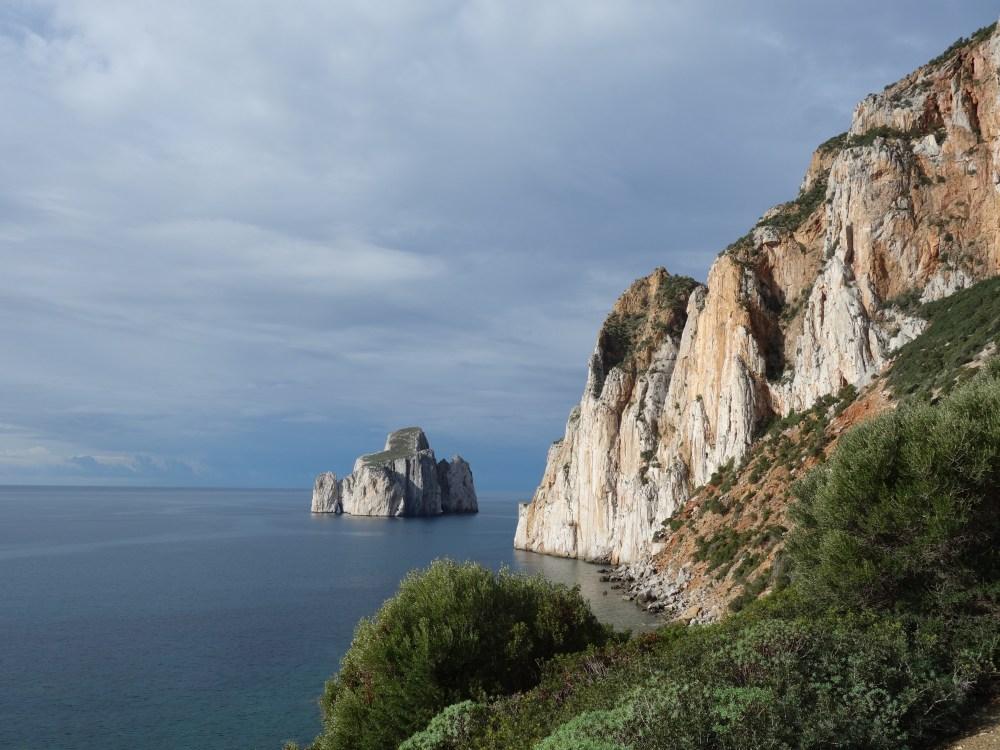 cățărare în Masua, Porto Flavia, Sardinia, Italia iarna