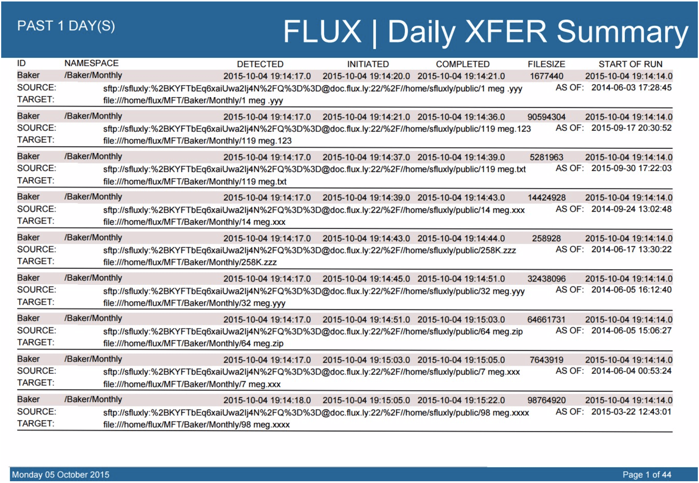flux jasper report summary