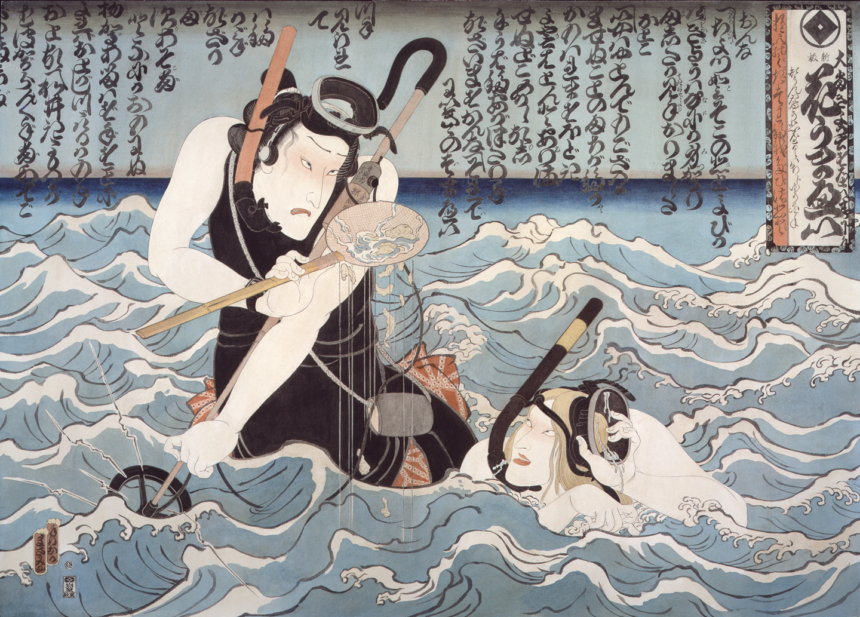 artwork of man and woman snorkeling in ocean