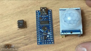 Left to right: MCT6 Optocoupler, Arduino Nano, HC-SR501 PIR Motion detector