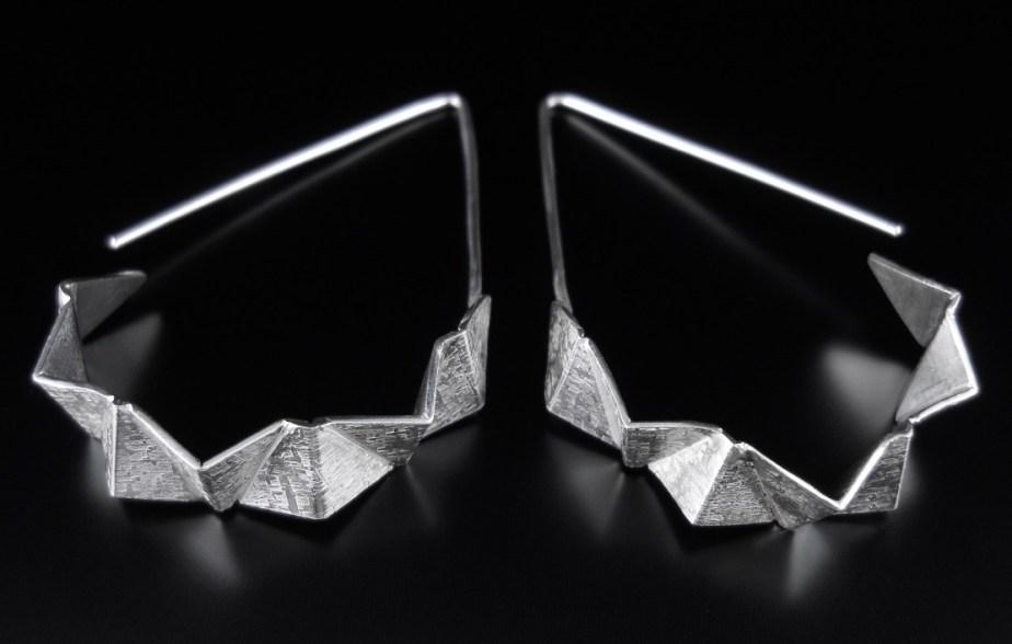 Origami Swing Dangle Earrings Silver