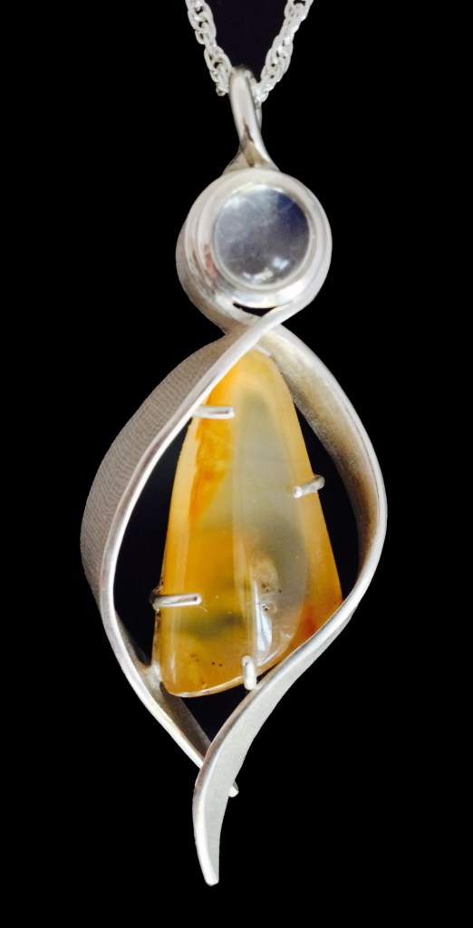Angel Pendant Silver with Moonstone and Agate, Hand Fabricated