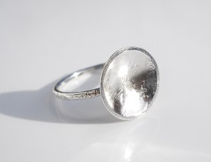 moon domed recycled sterling silver ring