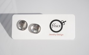 moon domed recycled sterling silver studs